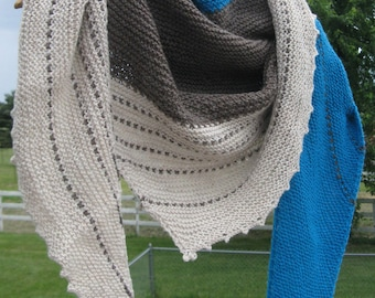 Hand Knit Shawl,  Alpaca Wrap,  Wool Assymetrical Shawl