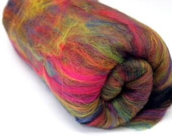 Carded Batt Merino Fiber Fireworks Fine Merino Wool Hand Spinning and Felting Fibre 100g 200g 500g