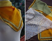 Pure SILK 1950's 60's 70's Ladies Vintage Set of 2 Scarves // Mustard Light Brown VERA Scarf // Polka Dot Spiral