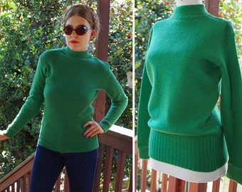 EMERALD 1920's 30's Vintage Green WOOL Sweater w/ Mock Collar // by MATES Manchester Knitted Fashions // size Medium // Rare