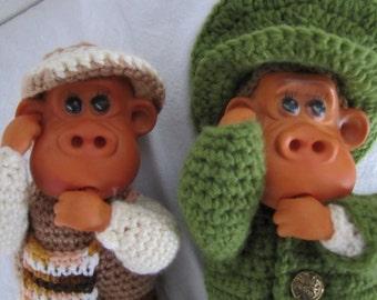 Thumb sucking Toe sucking Monkey Dolls with Crochet body