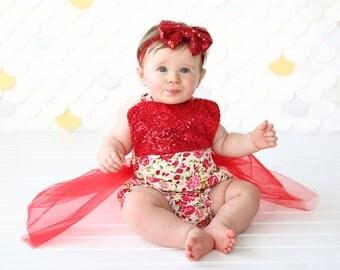 Romper - Tulle skirted, Skirted, Sequin Top Romper - Sequin Romper - Princess Romper - Birthday Romper - Photoshoot - Red Flower Romper