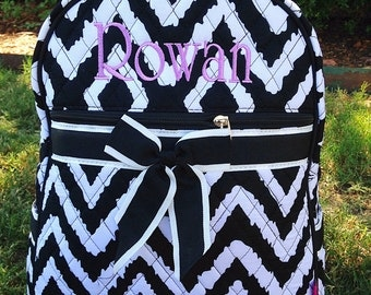 Black and White Ikat Backpack - Quilted Backpack - Monogram Backpack - Personalized Backpack - Girl Backpack - Diaper Bag Backpack Embroider