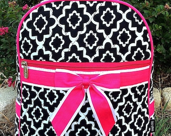 Quilted Black and White Backpack - Quilted Backpack - Diaper Bag -Monogrammed Backpack - Personalized with Name or Initals