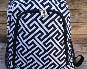 Black and White Backpack Monogrammed Name or Initials of Your Choice