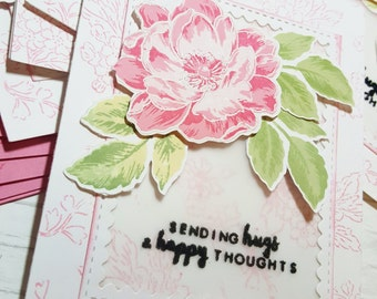 Handmade Pink Floral Rose CARD All Occassion FREE Shipping!