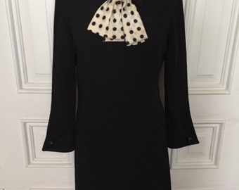 Vintage 1960s mod black polka dot tie dress