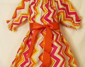 Girls Dress, Peasant Dress, Chevron Dress, Little Girls Dress, Handmade Girls Clothing, Made in the USA, #226