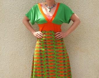 Organic V-Neck Summer Dress with Vintage Cars
