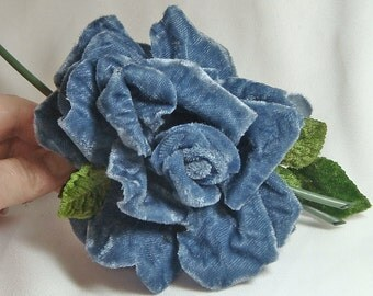 BLUE VELVET Vintage Millinery Rose and Leaves Leaf Spray 1982
