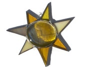Yellow Sun - Stained Glass Suncatcher - Sun Mobile - Window Ornament
