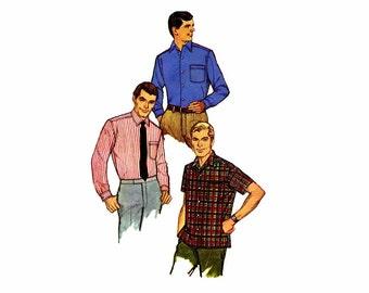 1960s Mens Sport Shirt Simplicity 7745 Vintage Sewing Pattern Neck 15 Chest 38 UNCUT