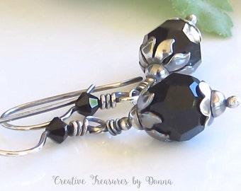 Black Swarovski Crystals Sterling Silver Earrings Trending Earrings Trending Jewelry Rustic Earrings