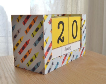 Perpetual Wooden Block Calendar - Elementary School Crayons