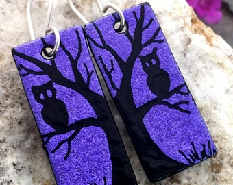 Tree & Owl Dichroic Glass Earrings - Hand Etched Split Design Purple Glass Art