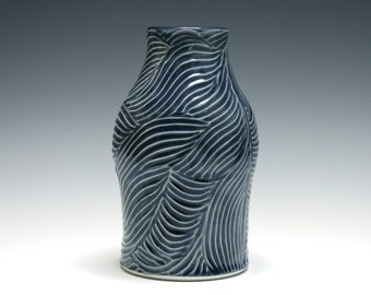 Denim Blue Vase with Wavy Lines