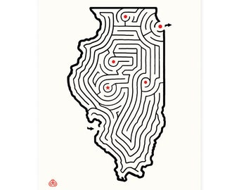 "8x10"" ILLINOIS Maze Print 