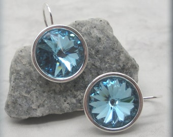 Aquamarine Rivoli Earrings, March Birthstone Earrings, Swarovski Crystal Earrings, Sterling Silver, Minimalist, Bridesmaid Gift (SE502)