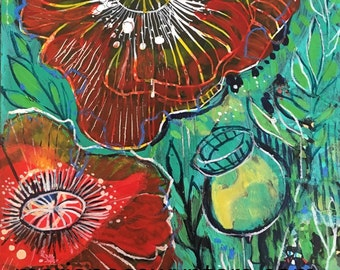 Little poppies Original mixed media painting by Maria Pace-Wynters