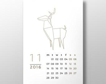 2016 printable calendar ORIGAMI ++ 12 month printable wall desk calendar ++ INsTAnT DOwNLoAD ++ modern calendar ++ handmade design