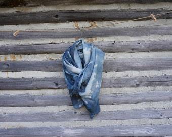 Silk wool shibori dyed scarf/shawl