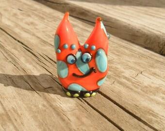 Wendel the Monster, Lampwork Monster Artisan Handmade Focal Sculpture Glassymom SRA