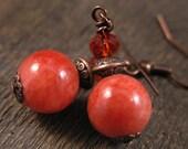 Bright tangerine orange quartzite stone, swarovski crystal and antique copper handmade earrings