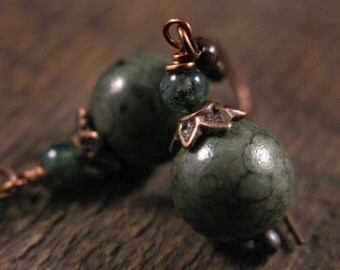Green stone and moss agate antique copper handmade earrings