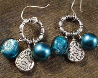 Turquoise blue silver foil lentil beads, teal glass pearls, silver charm handmade earrings