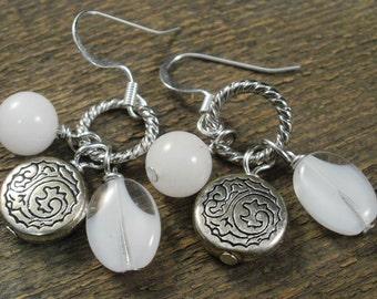 White snow quartz, czech glass and silver charms handmade earrings