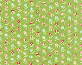 Vintage Picnic - Rosie in Green: sku 55121-14 cotton quilting fabric by Bonnie and Camille for Moda Fabrics - 1 yard