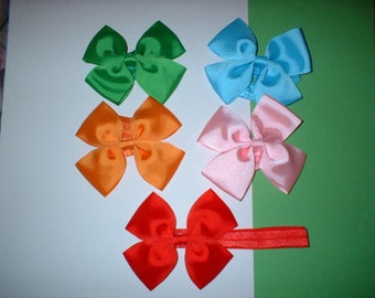 3    inch  Hair Bows on Headbands In  colors( 100)  total of 5