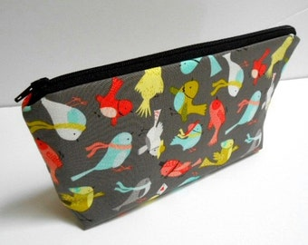 SALE Large Padded Cosmetic Bag Flat Bottom Zipper Pouch Clutch ECO Friendly NEW Birds Life