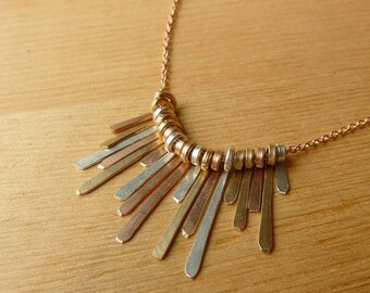 ON SALE Fringe Necklace - Mixed Metals Rose