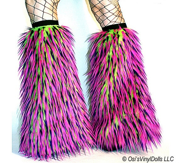 Furry Leg Warmers Cyber Fluffies Lime, Hot Pink, Purple Monster Fuzzy Boot Covers