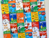 Dr Seuss Baby Quilt Storybook Quilt Gender Neutral Boy Girl Nursery Bedding Crib Bedding Classic Seuss