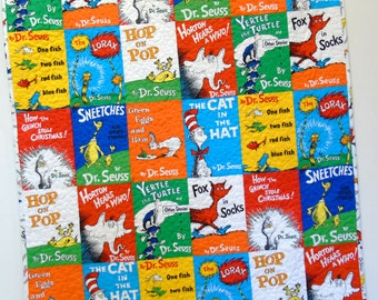 Dr Seuss Quilt Baby Storybook Quilt Gender Neutral Boy Girl Nursery Bedding Crib Bedding Classic Seuss