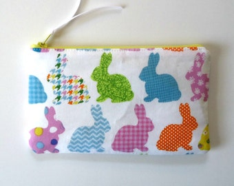 Rainbow Bunnies Zipper Pouch, Rabbit Pencil Case, Bunny Pencil Case, Cosmetic Case for Spring and Easter