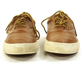 90s Polo Ralph Lauren Leather Deck Shoes / Vintage 1990s Brown Lace Up Loafers / Classic Preppy Oxfords Sneakers / Men's 7 / Women's 8.5