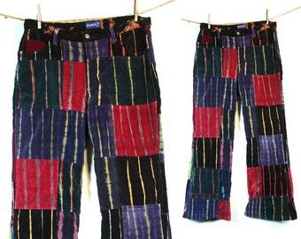 Patchwork Velvet Pants / Vintage Tie Dye Velvet Jeans from Nepal