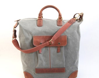 Vintage Leather & Canvas Carry On