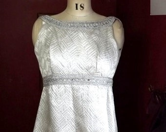 Quilted Evening Gown, Vintage Handmade Metallic Silver Small Maxi Dress with Rhinestones
