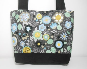 Medium Tote Bag, Cool Blues and Green Tote, Black Floral