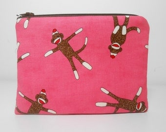 Sock Monkey Change Purse and Pocket Mirror, Pink Sock Monkey Coin Purse Set