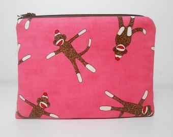 Sock Monkey Change Purse and Pocket Mirror, Pink Sock Monkey Coin Purse Set