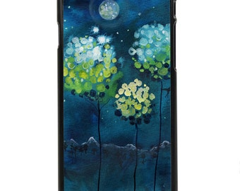 """Phone Case """"Four Moons"""" - Watercolor Art Giclee Print Magnolia Trees Full Moon Night Sky Blue Landscape By Olga Cuttell"""