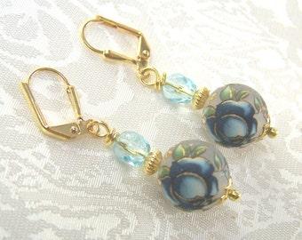 Blue Cabbage Rose Tensha Bead Earrings