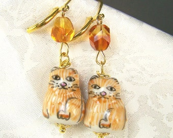 Orange Tabby Earrings