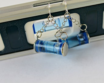 Blue Level With Me Here Mini Working Level Hardware Earrings