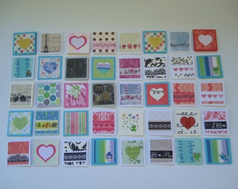 40 mini little notecards, mini heart notecards, tiny shop cards, thank you cards, lunch box love notes, small notecards, mini cards Lot R